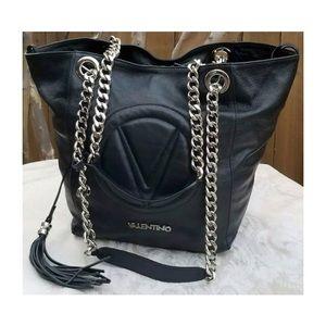 "Valentino ""Verra"" Leather Chain Logo Shoulder Bag"